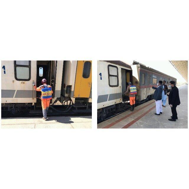 قطار مسافربری زاهدان - تهران ضدعفونی شد